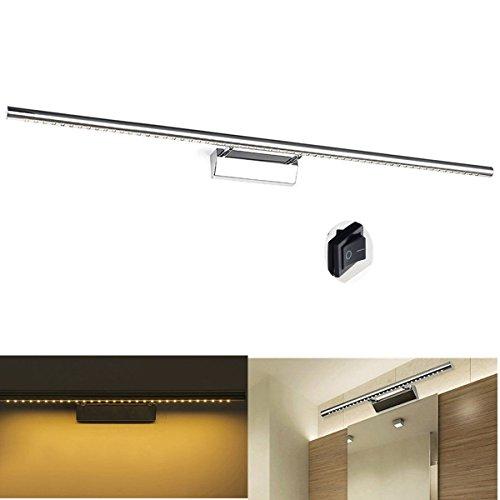 GreenSun LED Lighting 15w 105cm Bilderleuchte einstellbar Edelstahl 60SMD 5050 Spiegellampe Mit Schalter Spiegelleuchte Bad Leuchte Wandlampe Badzimmerlampe LED Spiegellicht Badlampe Warmweiß