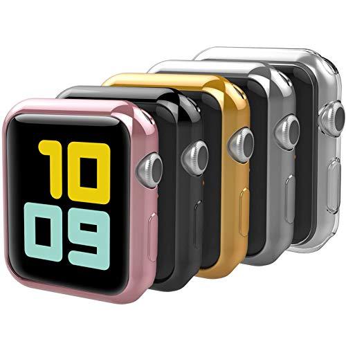 Anjoo [5 Pezzi] Cover Compatibile per Apple Watch 38mm, Custodia Protettiva dal Flessible Morbido TPU Compatibile con Apple Watch 38mm Series 2/Series3