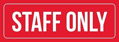 76DinahJordan Rood & Wit Personeel Alleen Office Zakelijke Retail Teken Binnen Outdoor Metalen Tekens Blik Teken Plaat Waarschuwing Gebaren Deur Teken voor Thuis voor Office 10x45cm