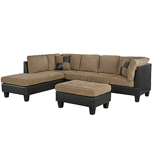 Casa AndreaMilano 3-Piece Microfiber and Faux Leather Sofa and Ottoman Set, 102' W, Mocha