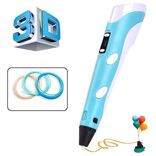 CaaWoo 3D Penna Stampa, Penna 3D Professionale con Schermo LCD e Controllo della Temperatura, 3D Pen da Disegno Compatibile con Filamento PLA/ABS, Regalo Perfetto per Bambini, Adulti (Blu)