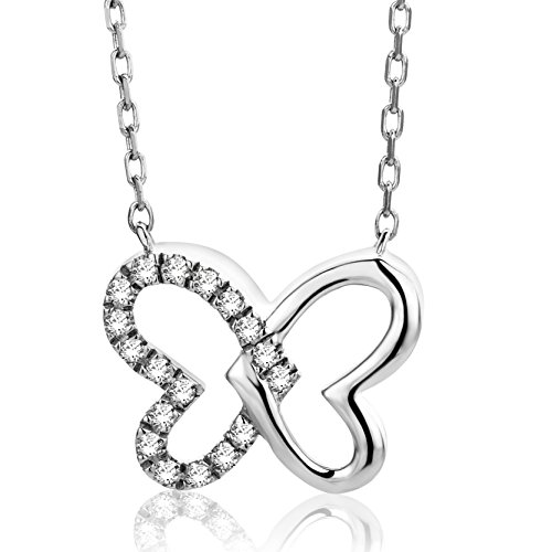 Orovi Halskette Damen Kette Weißgold 9 Karat / 375 Gold mit Herz Diamant Brilliant 0,06 ct