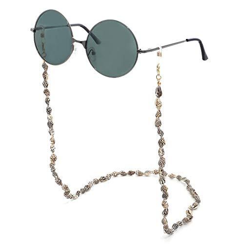2 uds, Máscara de Concha Tejida a Mano de Bohemia, Chian para Mujer, Cadena de Gafas geométricas en Blanco y Negro, joyería de declaración, Soporte de Cable para Gafas