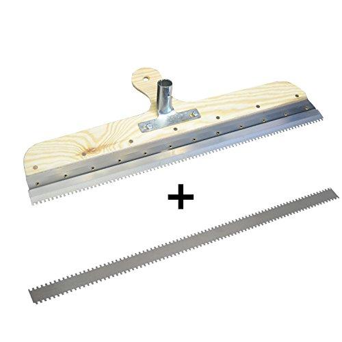 DEWEPRO® Großflächenrakel - Stehrakel gezahnt mit Steckvorrichtung - Breite: 560mm - Zahnbreite: ca. 2mm, Zahnhöhe: ca. 4mm, Zahn-Lückenbreite: ca. 4mm - inkl. Ersatzzahnleiste