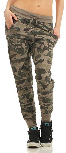 Damen Freizeithose Sporthose Sweat Pants Camouflage lang (633), Grösse:S / 36, Farbe:Braun