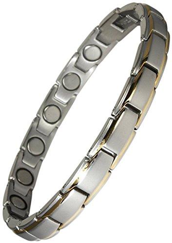Original YINGA-VITAL® Magnetschmuck. Extrastarkes Damen Magnet Armband. 16 Magnete mit je 4000 Gauss. Magnetarmband im Stil Bicolor Silber-Gold. Länge 21,5 cm