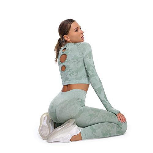 GUOYANGPAI Conjuntos de Yoga para Mujeres, Ropa de Gimnasia para Mujeres, Sujetador Deportivo, Pantalones de Yoga para Gimnasia, con Bolsillos, Juego de 3 Piezas Verdes, L