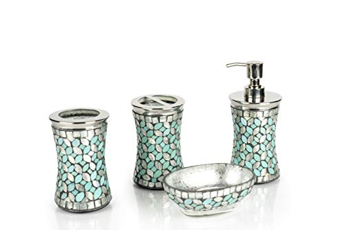 nu steel Sea Foam Collection Bathroom Accessories, 4 Bath Set Including Soap Dish, Lotion Dispenser, Tumbler Mug, Toothbrush Holder, Aqua Finish, Mosaic Glass/Stainless Steel