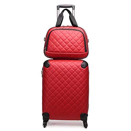 K-ONE Set de Equipaje de Viaje de Moda con Bolso 16/20/24/28 Pulgadas Maleta Trolley Bolso de Cuero de PU Caja de Transporte Popular valija, Rojo (Set), 16'Tendencia de Moda