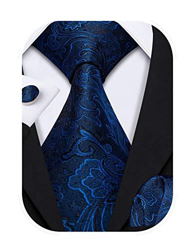 Barry.Wang Juego de corbatas y gemelos cuadrados de bolsillo para hombre de diseño Paisley