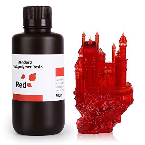 ELEGOO 3D Drucker Resin, LCD UV 405nm Rapid Resin für LCD 3D Drucker Photopolymer Kunstharz Flüssige 3D-Druckmaterialien Klarrot 500g