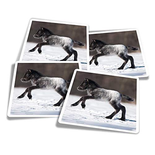 Pegatinas de vinilo (juego de 4) 10 cm – Lindo potro caballo pony nieve divertidos adhesivos para ordenadores portátiles, tabletas, equipaje, reserva de chatarra #2130
