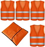 4 Gilet de Securite Infroissable Orange Fluo | Lot de 4 Gilets de Sécurité...