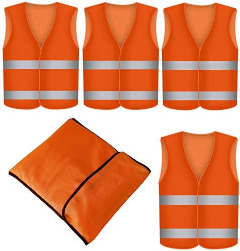 Warnweste Orange 4 Stück mit Tasche - Waschbar - 360 Grad Reflektierende Sicherheitsweste