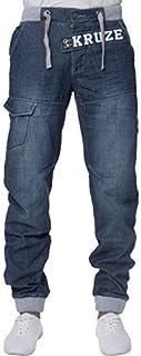 Kruze Designer Mens Cuffed Jeans Elasticated Waist Jogger Style Denim Pants