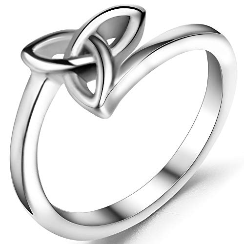 Jude Jewelers Stainless Steel Classical Celtic Knot Simple Plain Promise Ring (Silver, 7)