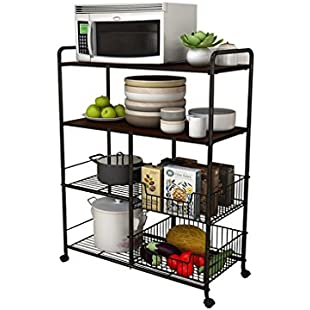 Multi-functional Black and Peach Color Kitchen Shelf and Storage Basket Multi-purpose 4-tier Carbon Steel Racks with Universal Wheel Vegetable and Fruit Basket Stacks for Bathroom and Livingroom:Eventmanager