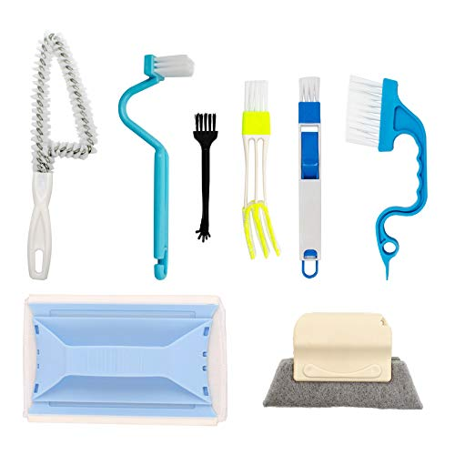 Creative Window Groove Cleaning Brush, Magic Brush, Hand-held Crevice Cleaner Tools, Fixed Brush Head Design Scouring Pad Material for Door, Window Slides and Gaps, Etc (8PCS)