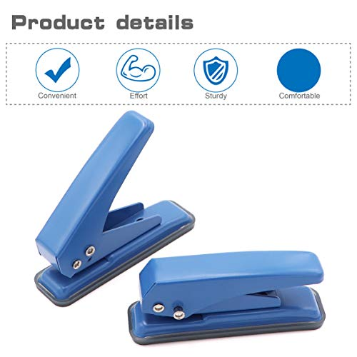 """2 pcs Low Force Hole Punch, 20 Sheets Punch Capacity, 1/4"""" Holes, Hole Puncher, Paper Punch Hand Punch with Skid-Resistant Base for Paper, Chipboard, Thin Metal, Craft Paper and Art Project Photo #5"""