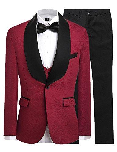 JYDress Mens Jacquard 3 Piece Suit Slim Fit Tuxedo Blazer Jacket Tux Vest & Trousers Burgundy