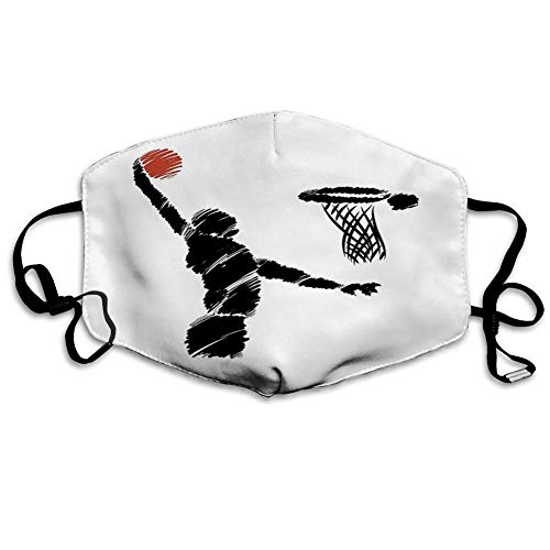 Jugend, Freihand-Zeichenstil Basketballspieler Springen Sportler Training Kunstwerk, Zimt Schwarz Weiß, Gedruckte Gesichtsdekorationen