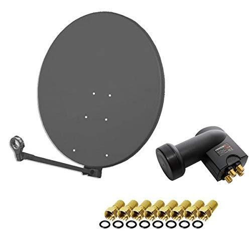 Gibertini Sat Anlage Antenne Schüssel 100cm Anthrazit XP Profi- Serie + PremiumX Quad LNB 0,1db 4 Teilnehmer HDTV 4K