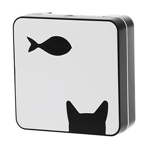 Scatola per lenti a contatto con gatto pesce quadrato da viaggio portatile a specchio contenitore per occhiali in legno