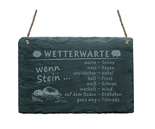 « WETTERWARTE » auf Schiefer - 22 x 16 cm - Wettertafel, Wetterstein für den Garten und Balkon