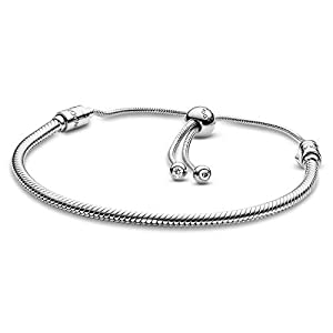 Pandora Jewelry Moments Slider Snake Chain Charm Cubic Zirconia Bracelet in Sterling Silver, 11.0″