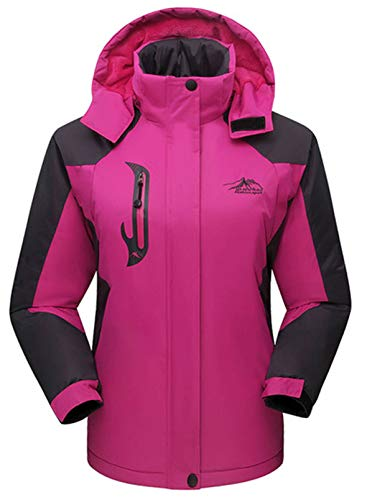 CORAFRITZ Damen Wasserdicht Skijacke Outdoor Winddicht Fleece Regenjacke Gr. 46, rose
