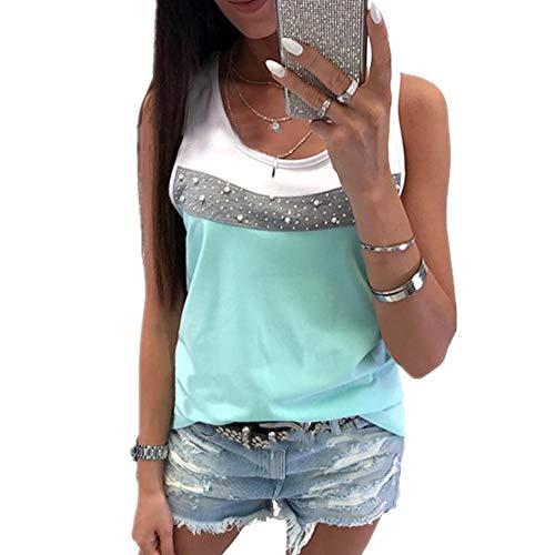 Morton PegfwaS Trendy Colorblock Weste T-Shirt für Damen, schmale Passform