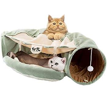 Mulei Tunnel pour chat avec un tube pliable et un lit amovible 2 en 1 2 balles à suspendre pour chat intérieur lapin chiot chatons