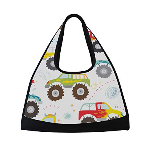 NISENASU Sporttasche,Handgezeichnete Kinder Doodle Monster Truck,Neue Sport Reisetaschen Tennisschläger Rucksack Badminton Kurze Reisetaschen tragbare Umhängetasche (20×6.7×18.5 inch)