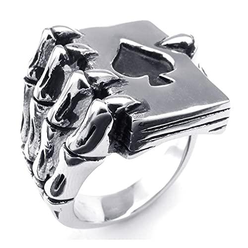 JIAH Anillo Boho Spades Tarjeta Poker Skeleton Hand Graw Claw Anillo Vintage Punk Eagle Glaw Skull Hombres Anillos para Unisex Hip Hop Jewelry (Main Stone Color : Silver, Ring Size : 13)