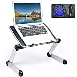 Adjustable Laptop Stand with Cooling Fan, Portable Desk for Lap Lightweight Computer Table Foldable Notebook Riser for Couch Bed Sofa