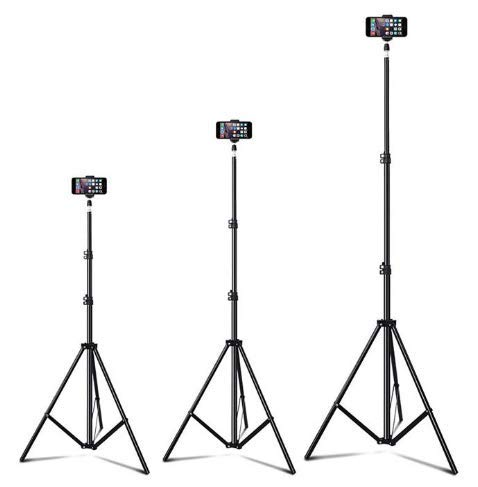Up to 82 Inch Extendable Tripod with Mobile Phone Clip Mount, Camera Tripod, Compatible with Most Cell Phones, DSLRs, Digital Cameras and Action Cameras for Selfie and Live Video (82 in Silvery)