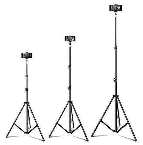 Trípode extensible de hasta 82 pulgadas para teléfono celular, trípode de cámara, compatible con la mayoría de los teléfonos móviles, DSLR, cámaras digitales de acción, cámaras selfie Live Video, 82 in silvery, Negro