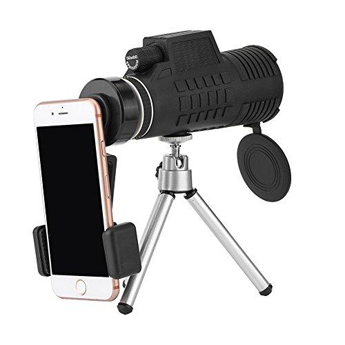 Heayzoki Lente de la cámara del teléfono Celular, 50 * 60 Telescopio del teléfono móvil Gafas ópticas Impermeables Lente de la cámara del teléfono monocular con trípode, Cámara del telescopio Lente