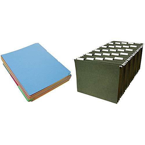 AmazonBasics AMZ401 File Folders - Letter Size (100 Pack) – Assorted Colors & Hanging Organizer File Folders - Letter Size, Green - Pack of 25