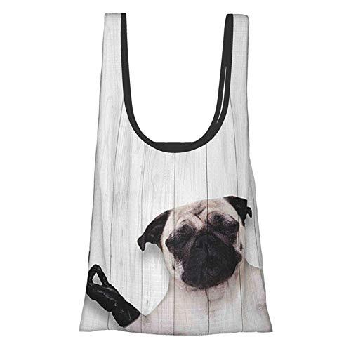 GIERTER Animal Decor Spirituelle lustige Bulldogge mit Lederhandschuhen auf Holzbrett, lustiges süßes Bild, schwarz weiß, wiederverwendbar, faltbar, umweltfreundliche Einkaufstaschen