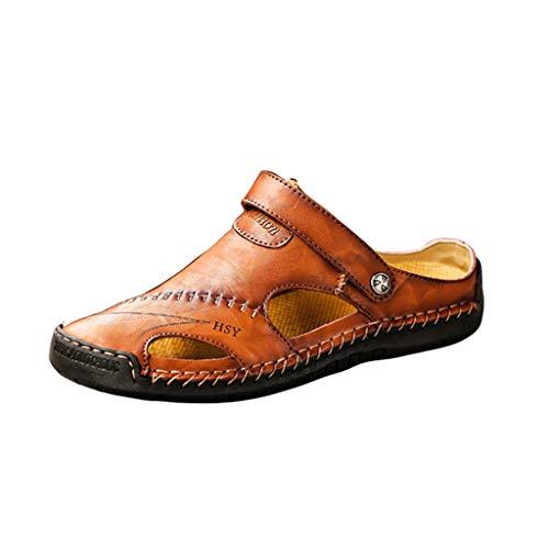 BURFLY Mode Herren Schuhe, Männer Sommer Casual Solide Ledersandalen Atmungsaktiv Tide Outdoor Strandschuhe Freizeitschuhe