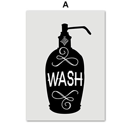 SDFSD Toilettenpapier Zahnbürste Handseife Zitate Wandkunst Leinwand Malerei Nordic Poster und Drucke Wandbilder für Badezimmer Dekor A 30 * 40cm