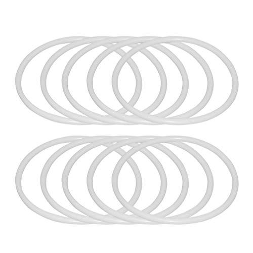 HEALLILY 30pcs Blanc Anneau en Plastique cerceaux Attrape-rêves Autour de cerceaux Anneaux macramé Emballage Cercle en Plastique Cercle pour Bricolage capteur de rêves (60mm)