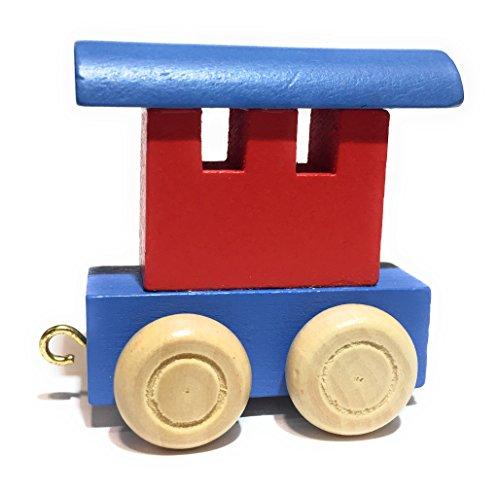 Buchstabenzug bunt | bunte Lok - farbige Waggons | Wunschname zusammenstellen | Holzeisenbahn | EbyReo® Namenszug aus Holz | personalisierbar | auch als Geschenk Set (Farbe Rot/Blau, Abschlusswaggon)