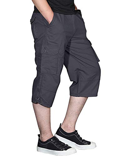 Ivnfout Men's Long Shorts Elastic Cargo Shorts Below Knee Capri Pants Loose Fit with 6 Pockets 3/4 Cotton Cargo Shorts Gray 2XL