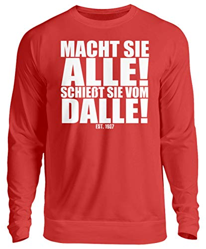 PlimPlom Würzburg Fußball Fan Spruch - Macht Sie Alle Schießt Sie Vom Dalle - Unisex Pullover -XL-Feuerrot