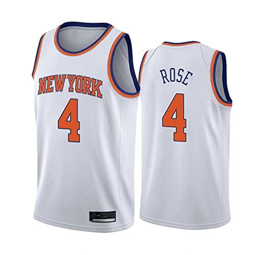 CYYX Jersey para Hombres, NBA New York Knicks # 4 Derrick Rose Classic Jersey, Tejido Fresco Transpirable, Fan de Baloncesto Unisex Sin Mangas Sports Chaleco Top,B,XL