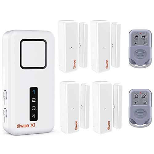 tiiwee Système d'Alarme de Sécurité Kit X1 - sans Fil - Alarme Maison Appartement Garage avec X1 Sirène, 4 Capteurs de Fenêtre et de Porte, 2 Télécommandes - Extensible - 2 Ans de Garantie