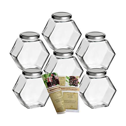 gouveo - Set di barattoli in vetro con motivo a nido d'ape, coperchi a vite, per marmellate, miele, conserve, per cuocere, per spezie, con un ricettario [lingua italiana non garantita]