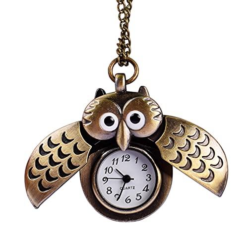 SENFEISM Cómodo reloj vintage bronce retro diapositiva inteligente búho colgante cadena larga collar bolsillos reloj números romanos